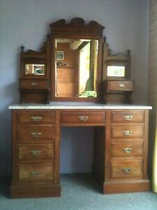 Antique Federation Style Duchess/Dressing Table with Marble Top Currumbin Gold Coast South Preview