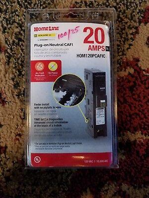 Square D Homeline 20 Amp Single-pole Plug-on Neaural Cafi - Model Hom120pcafic