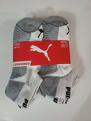 Puma Men's Low Cut Socks 10-13 Large 6 Pairs Pack White Black/Grey Sport Cushion