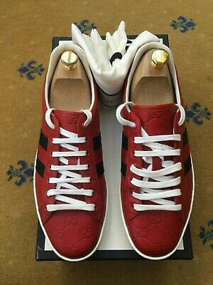 Gucci Mens Trainers Sneaker Shoes Red Leather Ace UK 7 US 8 41 Web Blue Embossed