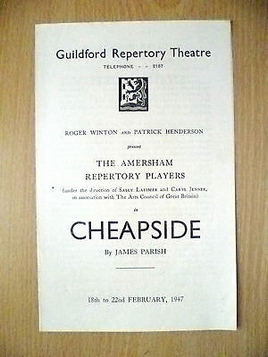 Guildford Repertory Theatre 1947- CHEAPSIDE by James Parish