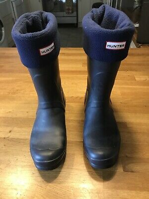 Hunters Wellingtons Blue With Socks Size 6