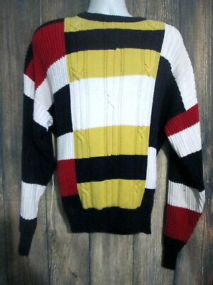 Nautica Mens Size L Color Block Long Sleeve Cotton Crew Beck Sweater Vintage