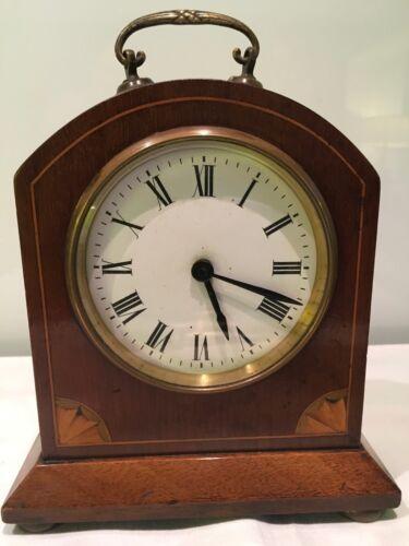 Antique Mahogany Inlaid Mantle Clock