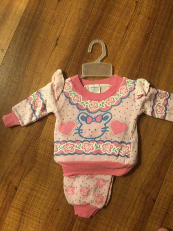 Vintage Deadstock Hopscotch Bunny Easter 12 Months Toddler Baby Girl 2pc Outfit