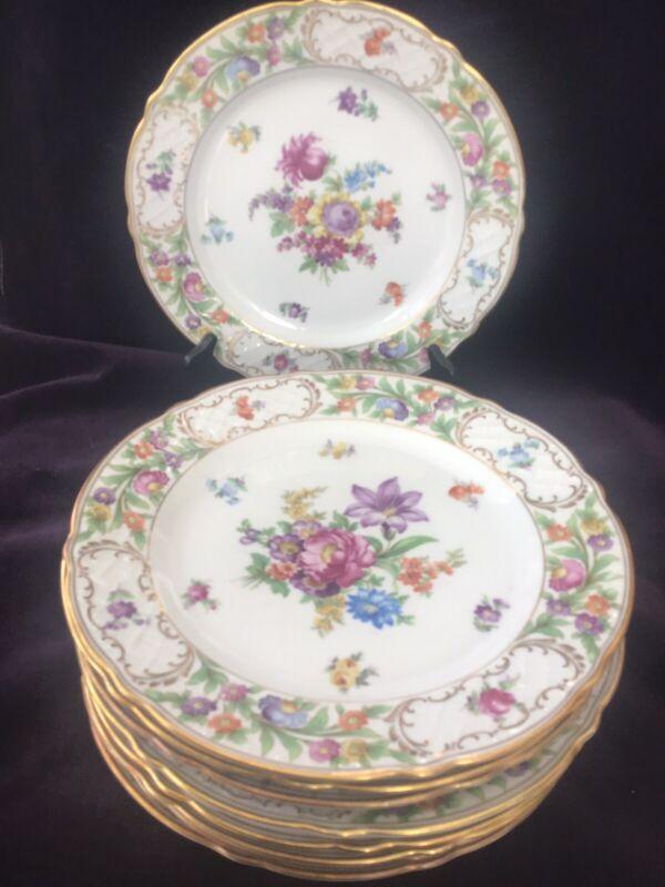 """Bavaria Schumann Arzberg Empress Dresden Flowers Lunch Plates 9.5"""" Lot of 9"""