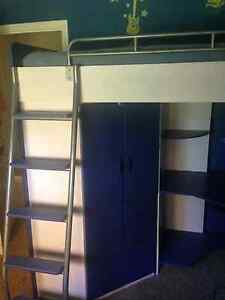 Kids Bed with Desk and ladder and closet. Bunk bed style
