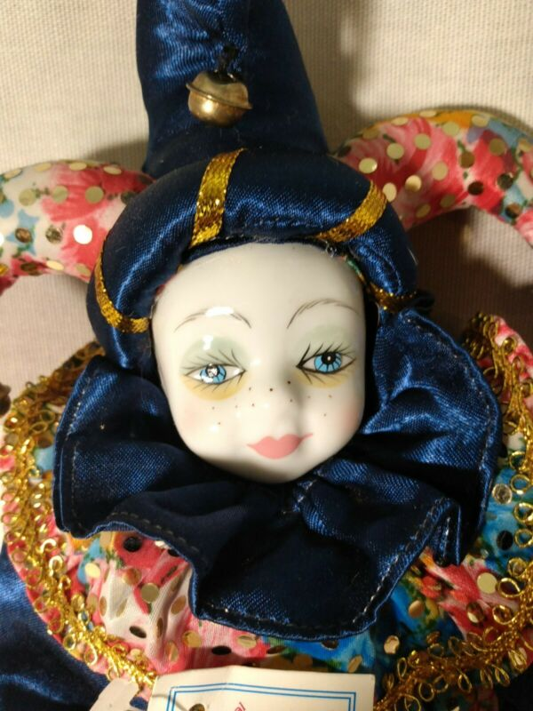 """Gambina Clown Jester Doll Porcelain Head Hands sand filled 11"""" Vintage 99 tags"""