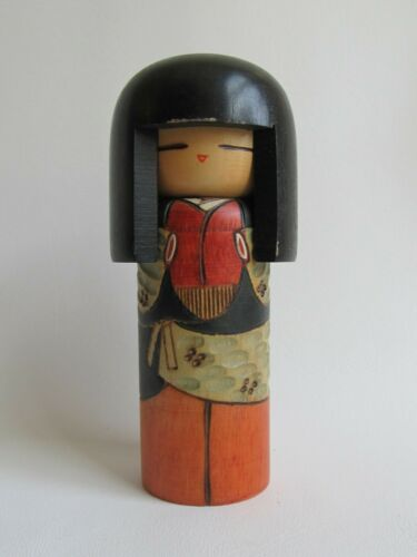 "Vintage Japanese Kisaku Kokeshi Doll Wood 5"""