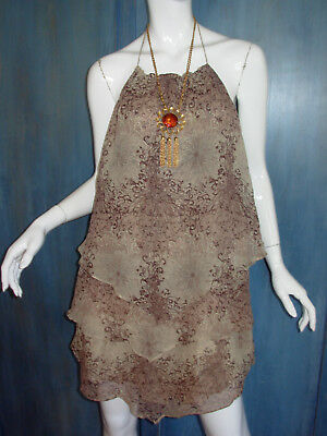 (ALICE + OLIVIA Silk LAYERED CHIFFON Handkerchief MUM FLORAL Print HALTER Dress S)