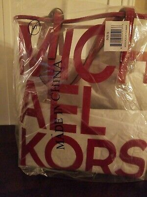 NWT Michael Kors North South Clear Tote The Michael Bag RED with MK (Mk Clear Bag)