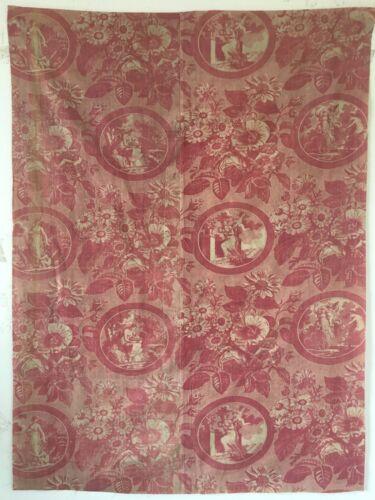 Beautiful Rare 19th C. French Printed Cotton Scenic Toile Fabric (2836)