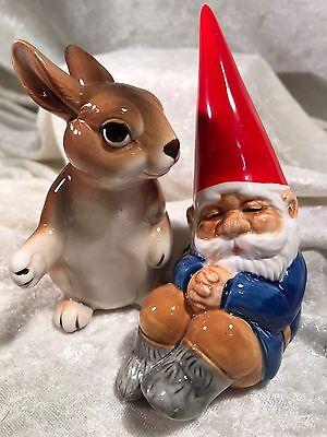 Vintage 1979 Unieboek Gnome & Bunny Rabbit Ceramic Salt & Pepper Figurines