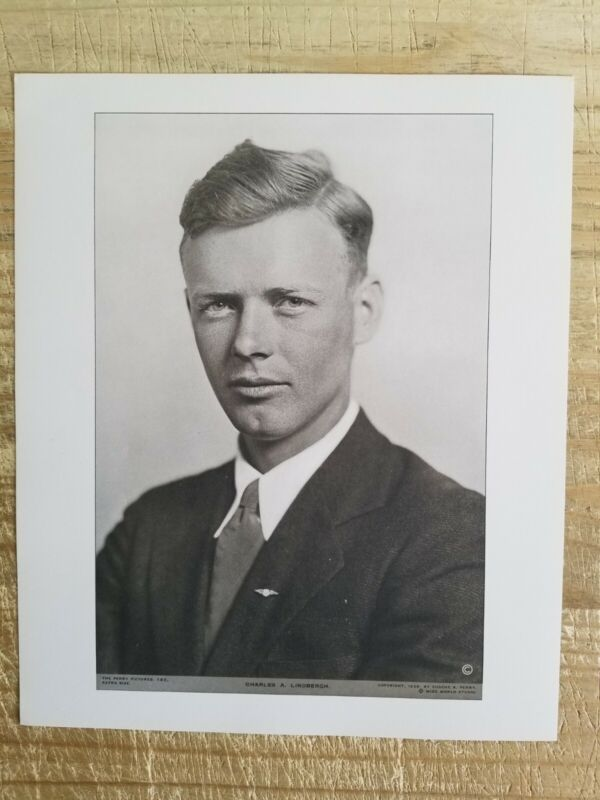 """CHARLES A LINDBERGH.12"""" x 10"""" VTG PERRY PICTURES ENGRAVING PRINT"""
