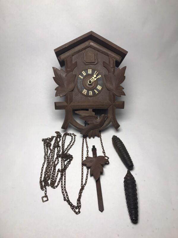 Antique Hubert Herr Triberg Black Forest Cuckoo Clock Germany Carved Dove Leaves