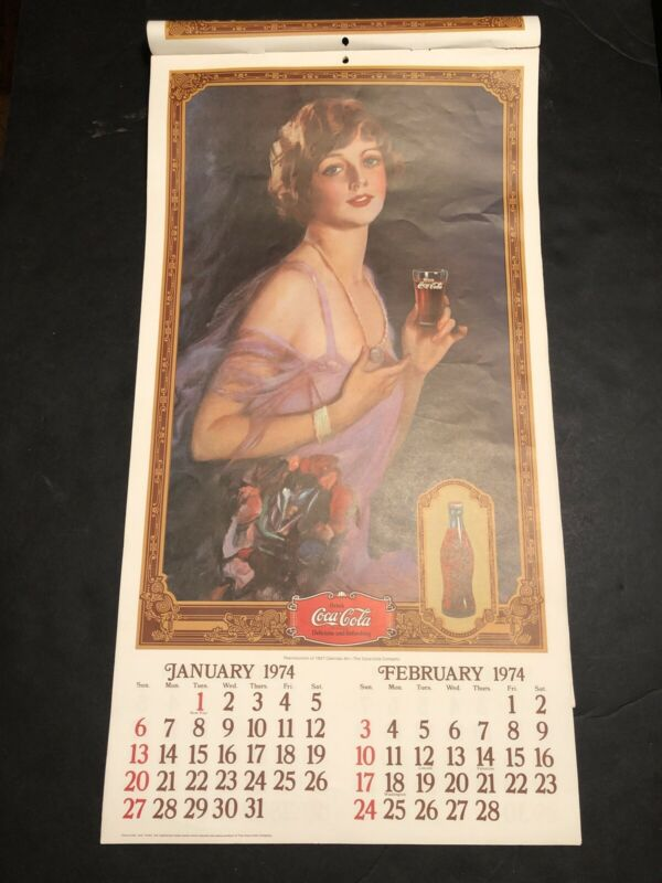 """VINTAGE ART 1974 COCA COLA 13 MONTH CALENDAR IN NICE CONDITION! 20"""" X 11"""""""