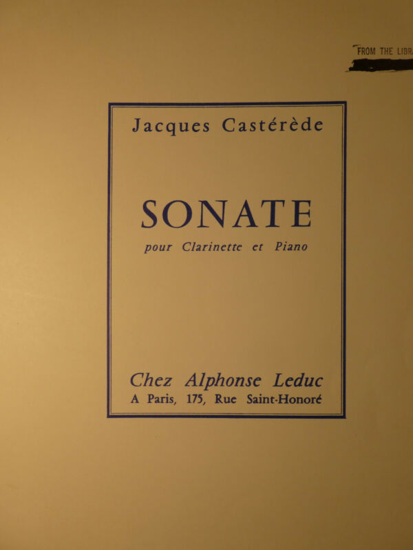 SONATE-JACQUES CASTEREDE   Bb CLARINET & PIANO   FREE SHIPPING