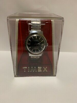Vintage Timex Automatic Water Resistant Day Mens Watch Blue Dial NOS Running