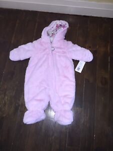 Baby Girl Faux Fur Snowsuit bunting Bag new 6-9 months org$75