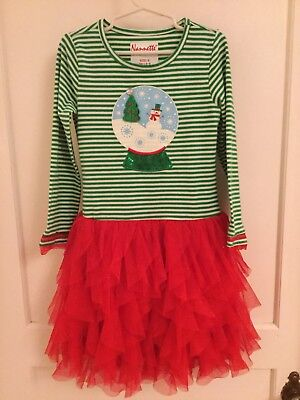 Red Tulle Dress ((B37) Nannette Dress Christmas Girls 6 Red Tulle Green)