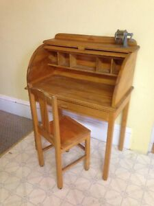 Vintage Children's Pine Roll Top Secretary Desk