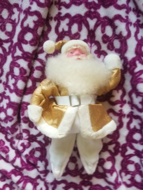 Vintage Harold Gale Santa Claus Gold Lame Christmas Stuffed Doll MISSING BOOTS