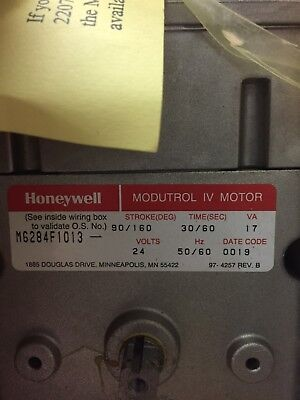 Honeywell M6284f1013 Modutrol Iv Motoras Pictured 24v - New Old Stock Nos