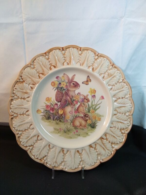 """Easter Traditions Cracker Barrel Plate 11.25"""" Bunny Butterfly Tulip Daffodil"""