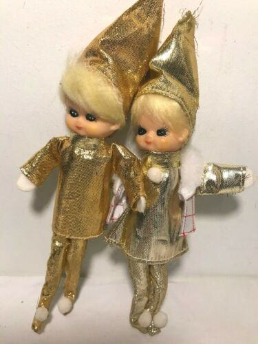 "Set of 2 Pixies/ Elves Christmas Ornaments Boy Girl Dolls Gold Outfits 7.5"" Tall"
