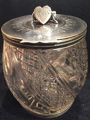 Antique Victorian Cut Glass Stunning Biscuit Jar Silver Lid With - Cut Glass Biscuit