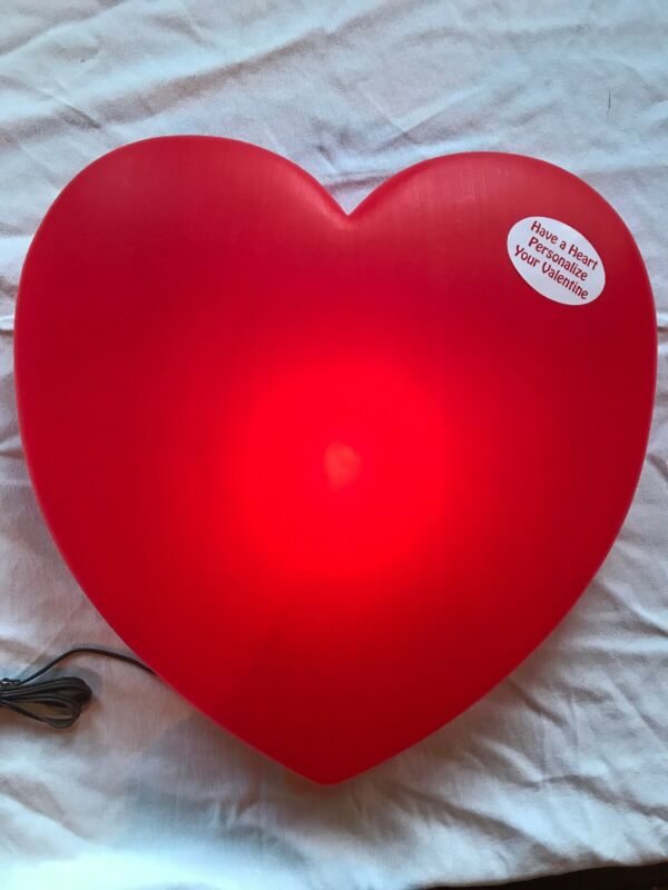 "Valentines Day Plastic Huge Red Heart  19"" Inch Union LIGHTED"
