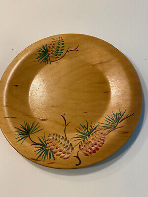 Vintage Woodcraftery Plate With Pine cones And Pine Beaches Needles Signed