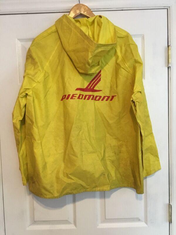 Vintage Piedmont Airlines Used Hooded Rain Jacket Size Large