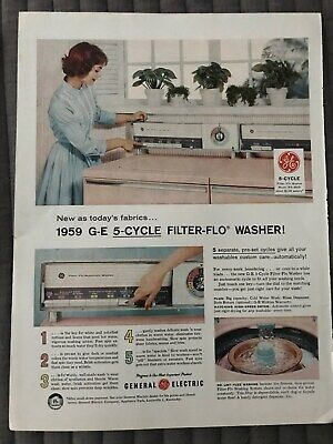 G-E 5-Cycle Filter Flo Washer~New As Today's Fabrics~1959 Vintage Print AD A80