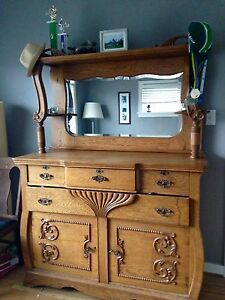 Victorian / Antique / Hutch /Mirror / Dresser / Oak