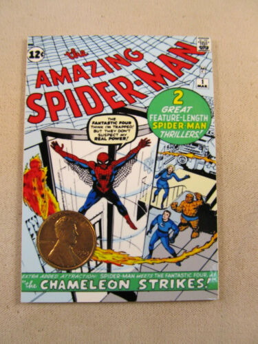 AMAZING SPIDERMAN COMIC #1 TRADING CARD WITH 1963 HEAD PENNY AMERICAN SERIES