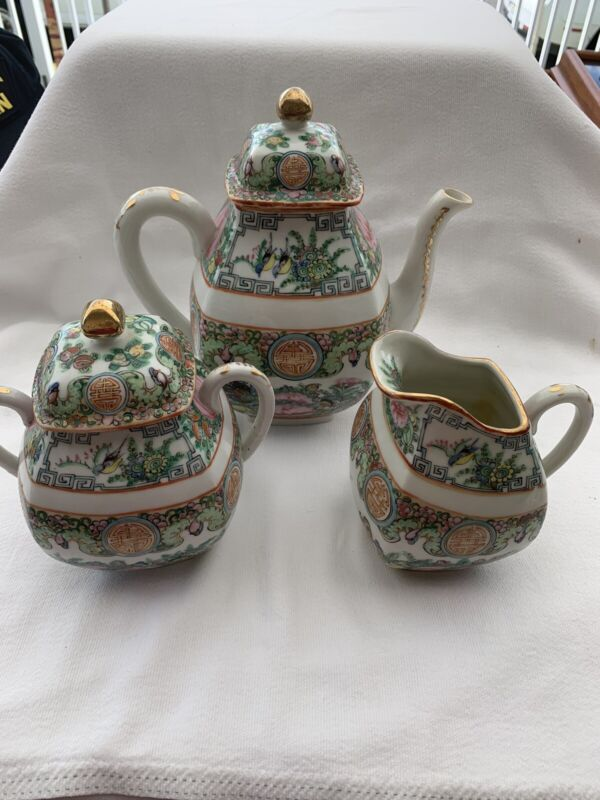 Old Chinese Export Famille Rose Canton Teapot Tea Service Set