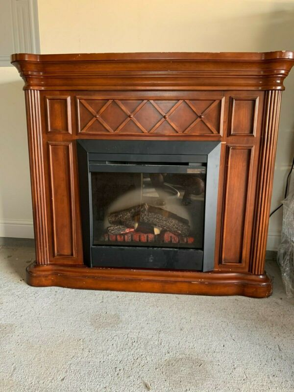 Electric Fireplace Mantel with Chestnut Oak