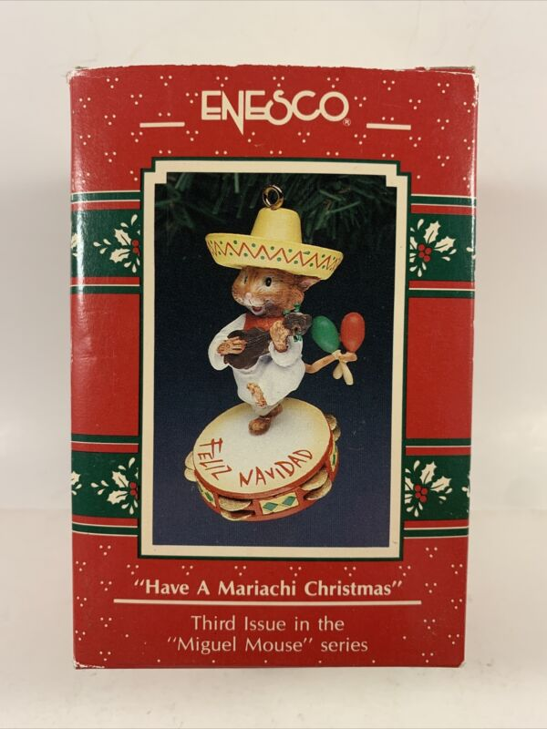 Enesco 1991 Have a Mariachi Christmas Ornament #3 Miguel Mouse