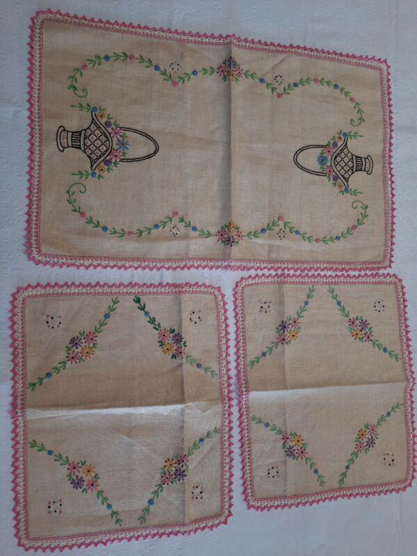 Vintage 3 Piece Hand Embroidered Dresser Scarf Set Flower Basket Pink Edging