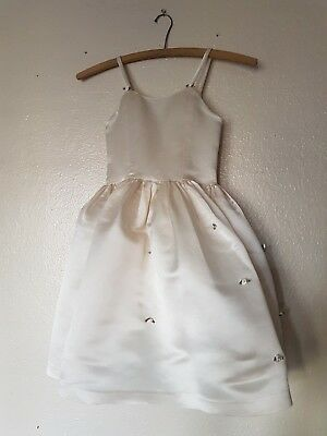Angel Satin Dress w/flowers Full Skirt Girls Size 4-5 (Full Skirt Flower Girl Dresses)