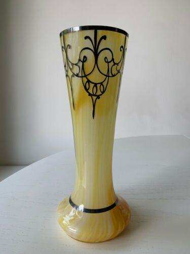 "Art Deco Nouveau Sterling Silver Overlay Yellow Art Glass Vase 10"" Opaline Swirl"