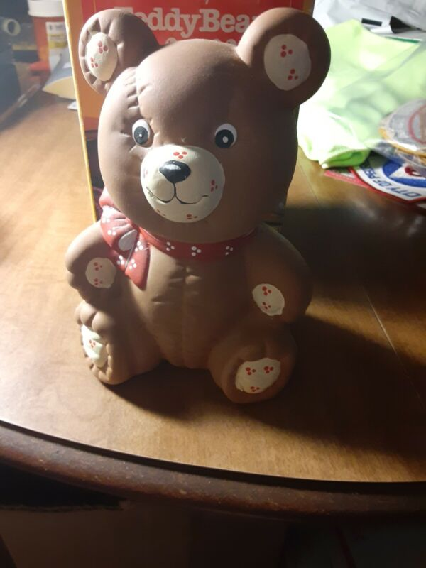 Vintage 1988 Teddy Bear Piggy Bank Hand Crafted With Original Box