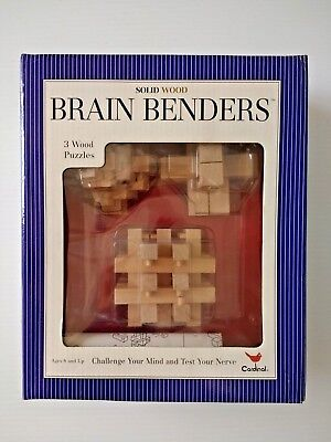NIB Cardinal Brain Benders 3 Solid Wood Puzzles 791 Age 8 and Up mind challenge