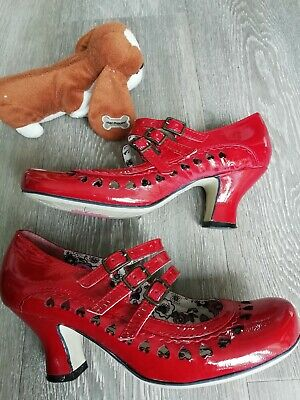 Hush Puppies Red Leather Mary Jane Straps Steampunk  Victorian Heel Shoes size 3