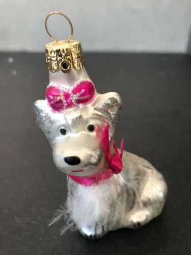 "White Westie Dog Glass Christmas Ornament 3"" tall"
