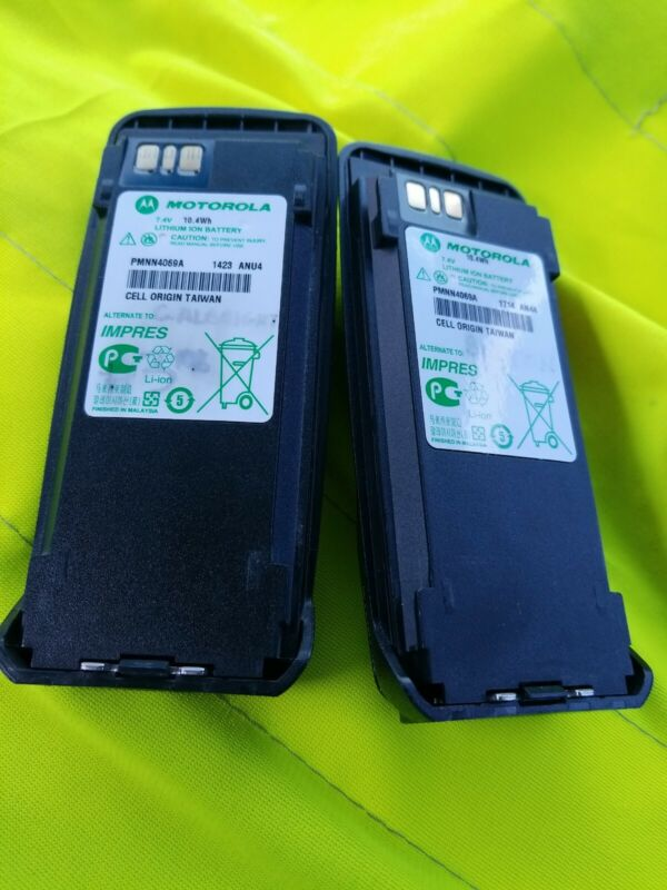 LOT (2) MOTOROLA PMNN4069A LITHIUM ION IMPRES BATTERY FOR XPR SERIES RADIO