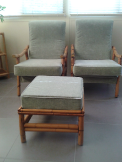 2 Cane chairs & footstool