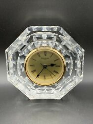 WATERFORD Ireland Large Cut Crystal Octagonal Quartz Mantel Clock 5""