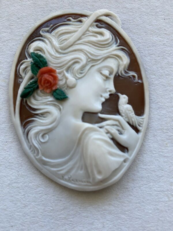 AMAZING SHELL CAMEO , INSERTS IN CORAL AND MALACHITE, HANDMADE ,MUSEUM QUALITY